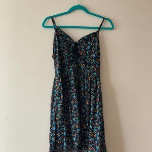 Lace Up Floral Navy Dress
